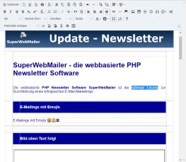 HTML Newsletter mit dem WYSIWYG HTML Editor im PHP Newsletter Script erstellen