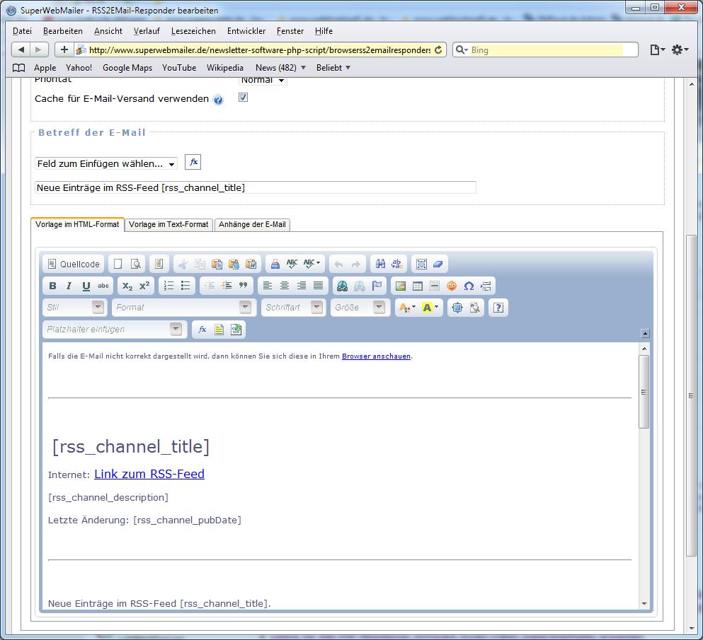newsletter software superwebmailer rss feeds als newsletter versenden html newsletter durch. Black Bedroom Furniture Sets. Home Design Ideas